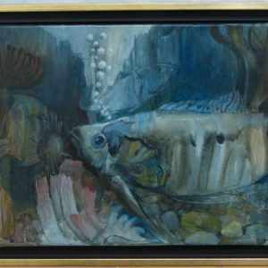 fish oil on canvas huile sur toile poisson