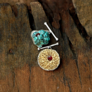 FINE AND DANDY Cufflinks, 24 karat guilded fossile, turquoise and garnet, Sterling silver.