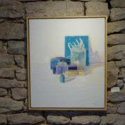 Azules sobre blanco, huile sur toile par Pere Mon Taillant