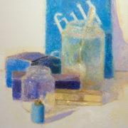 Azules sobre blanco, huile sur toile par Pere Mon Taillant - détail