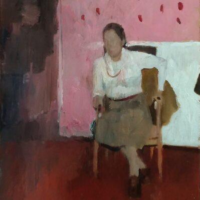 Peinture de Marc Dailly : Dame assise, huile sur bois 30x24 à vendre à la galerie Nakai
